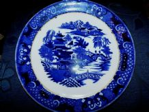 "VINTAGE GILDED 10"" DEEP PLATE COALPORT RICH DARK FLOW BLUE WILLOW PATTERN"